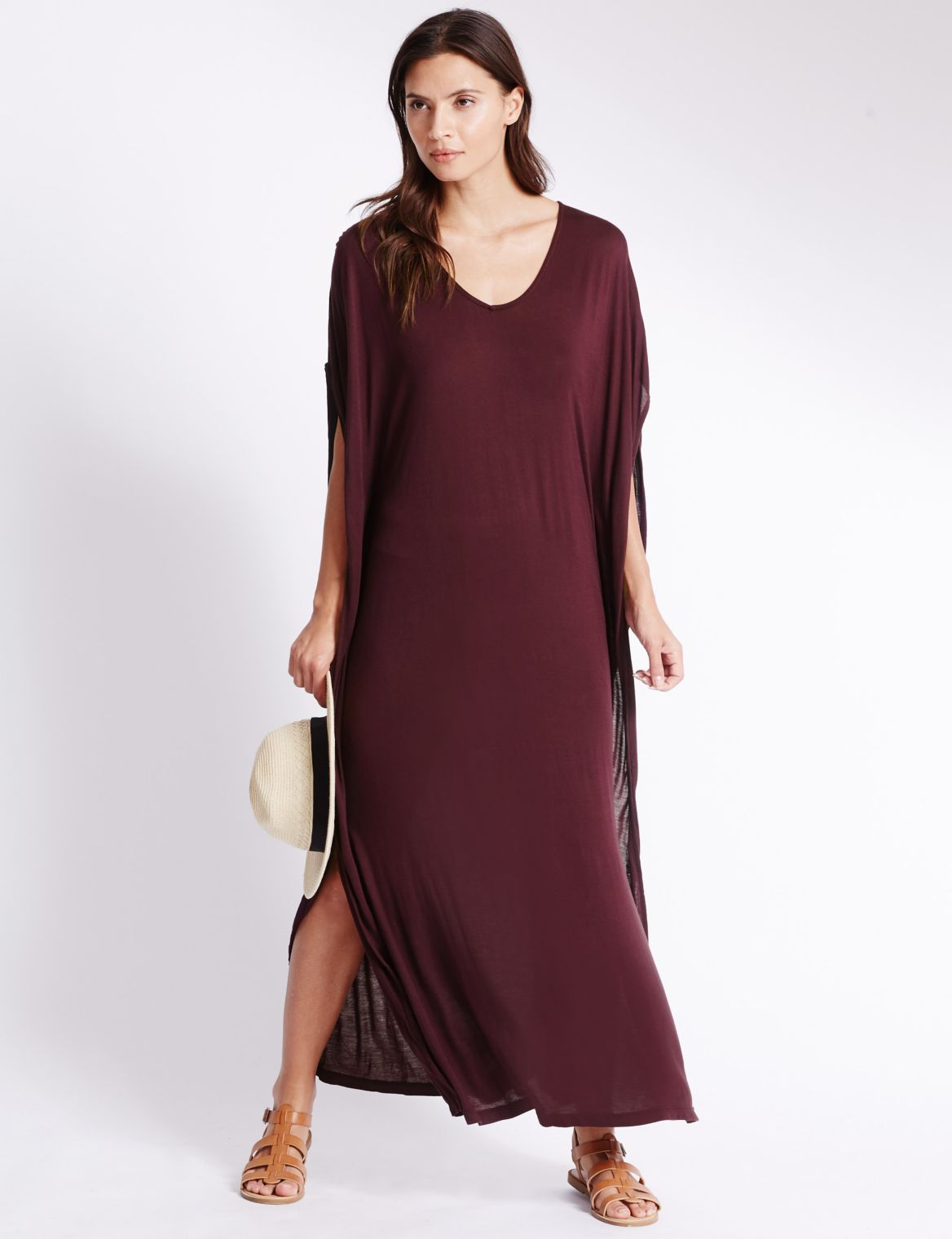 Angel Sleeve Jersey Midi Dress wine