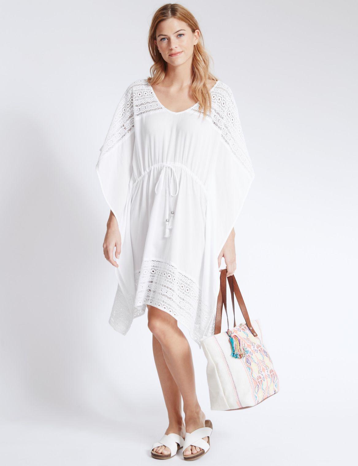Pure Modal Crochet Lace Kaftan ivory