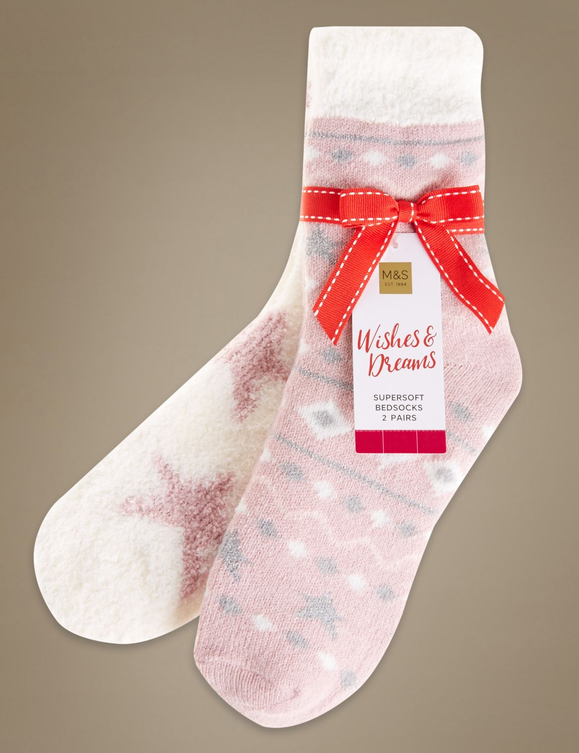 2 Pair Pack Assorted Print Cosy Socks pink mix