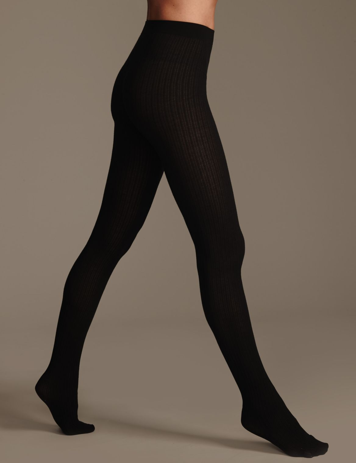 100 Denier Heatgen™ Ribbed Opaque Tights black