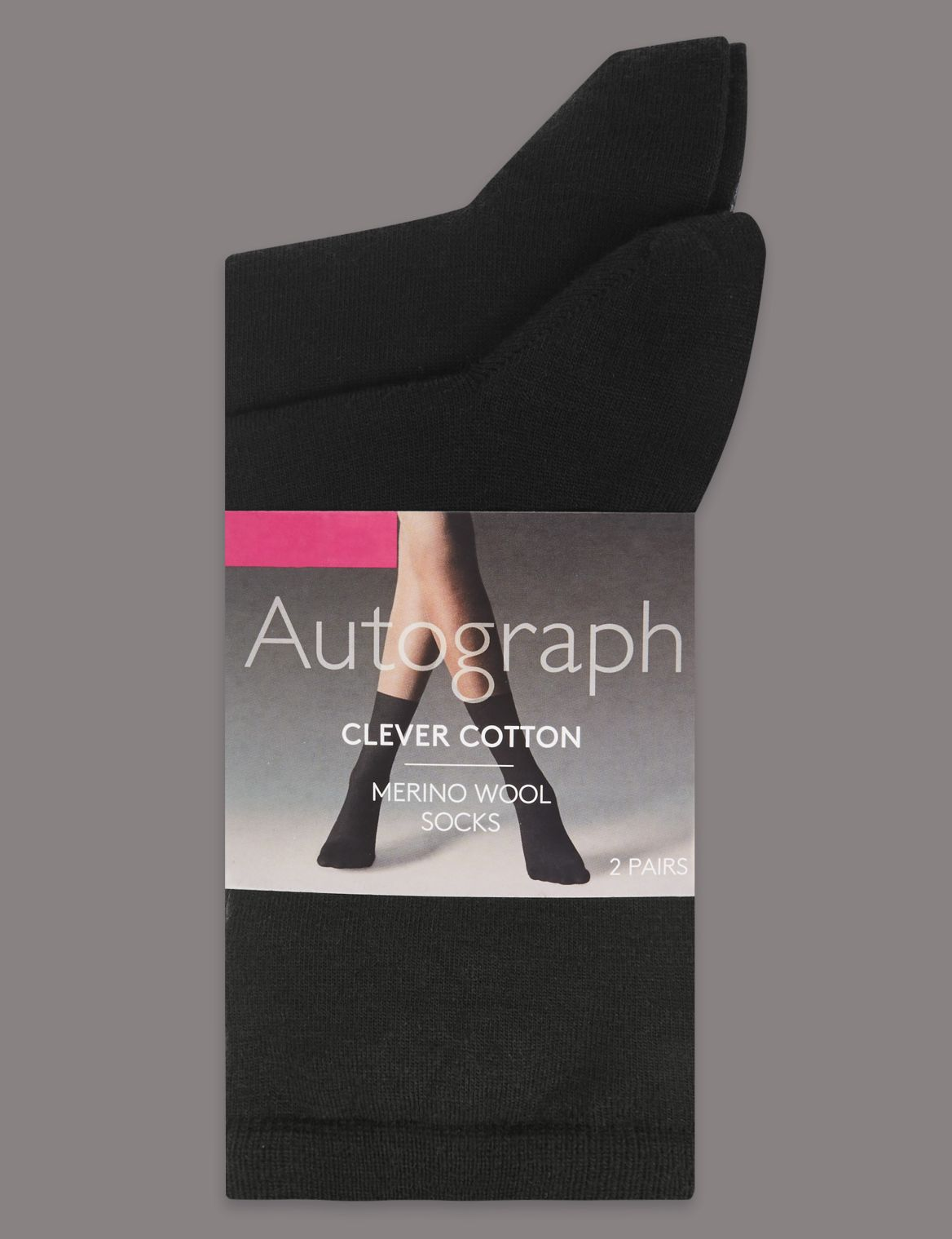 2 Pack of Clever Cotton Ankle Highs with Silver Technology black