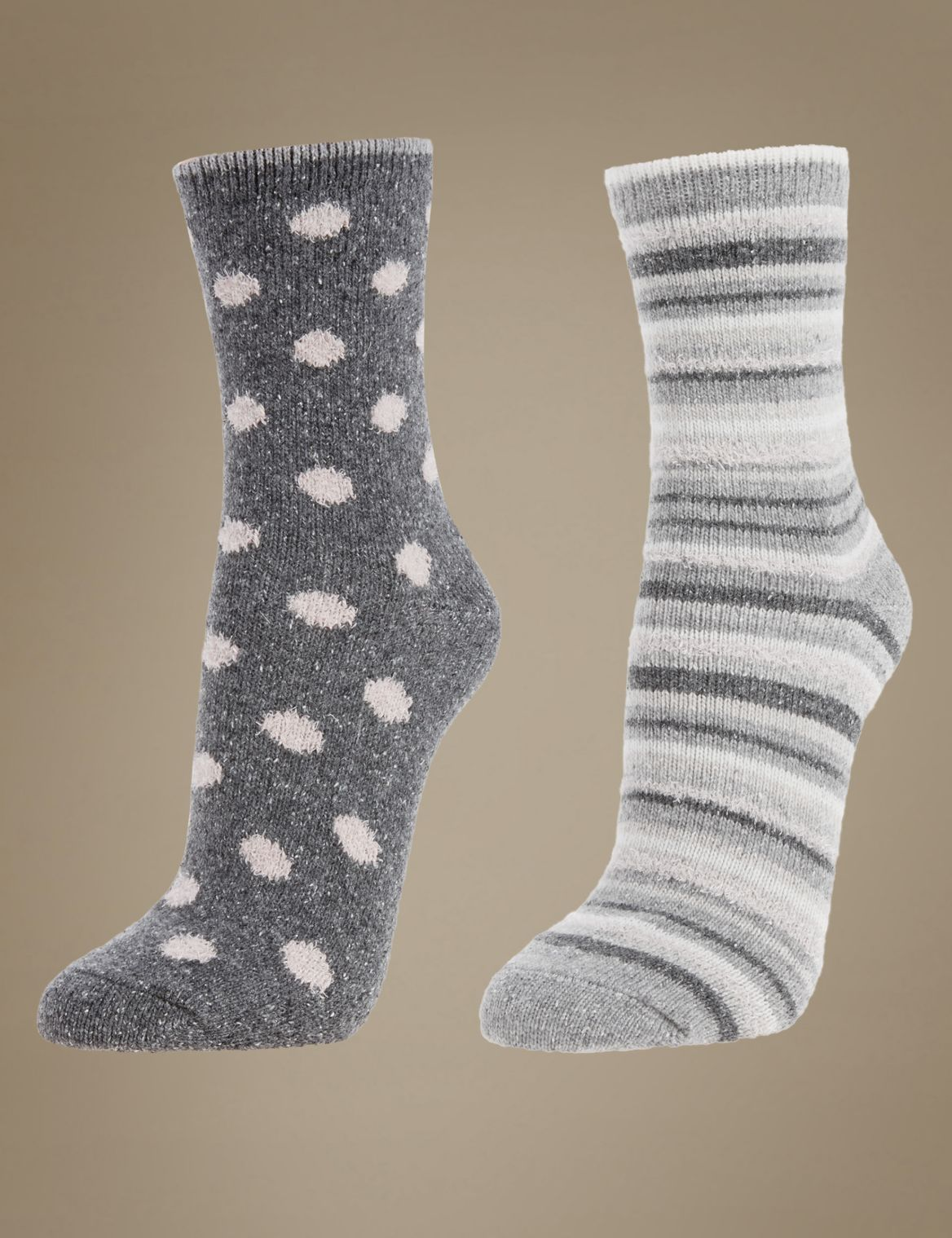 2 Pack Thermal Socks with Silver Technology grey mix