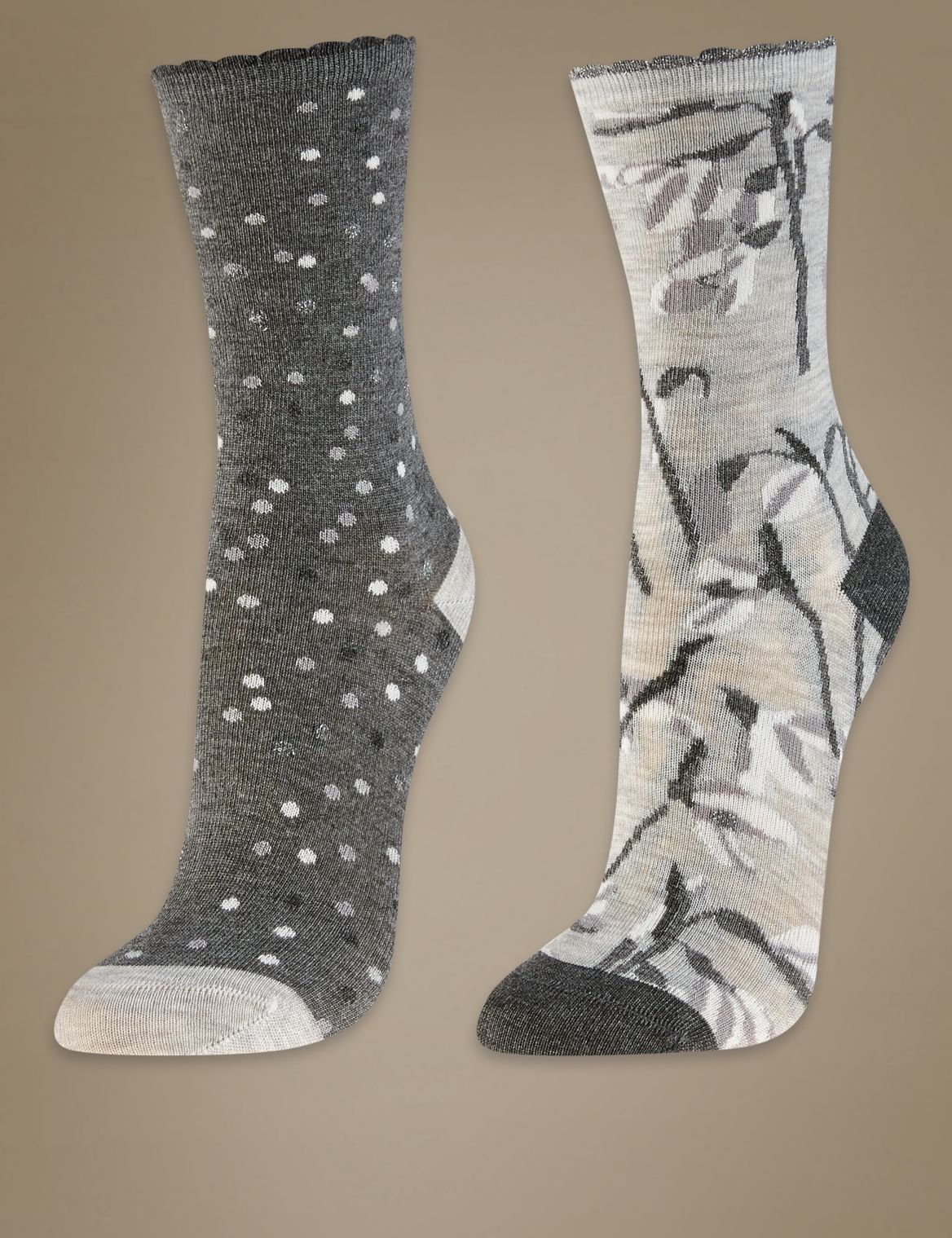 2 Pair Pack Ankle High Socks grey mix