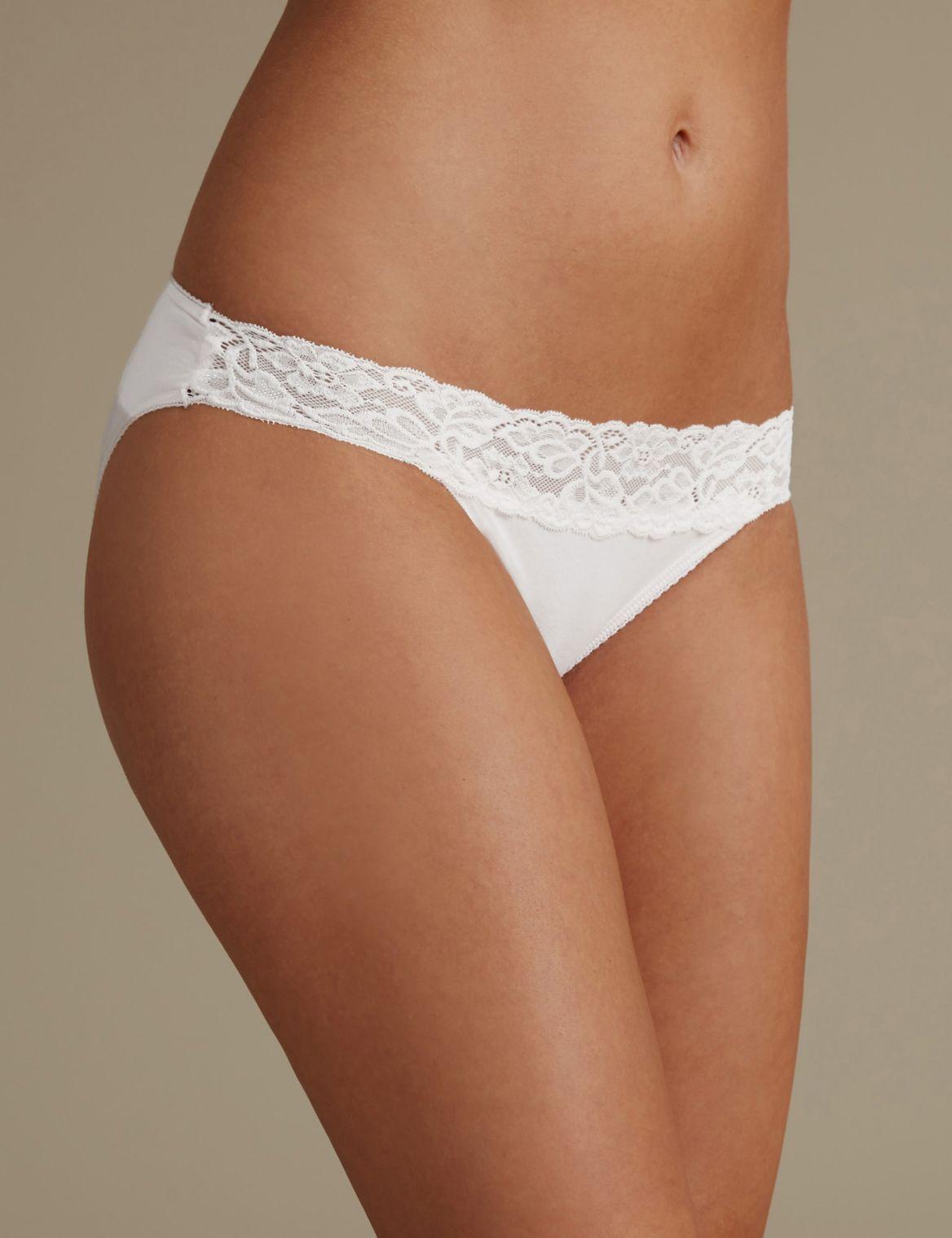 5 Pack Cotton Rich Lace Waist Bikini Knickers with New & Improved Fabric fondant