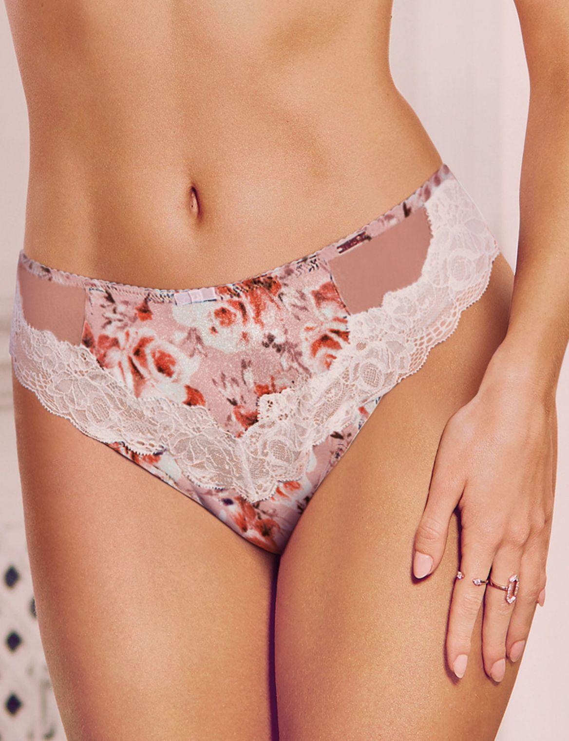 Silk Rose Print High Leg Knickers nude mix