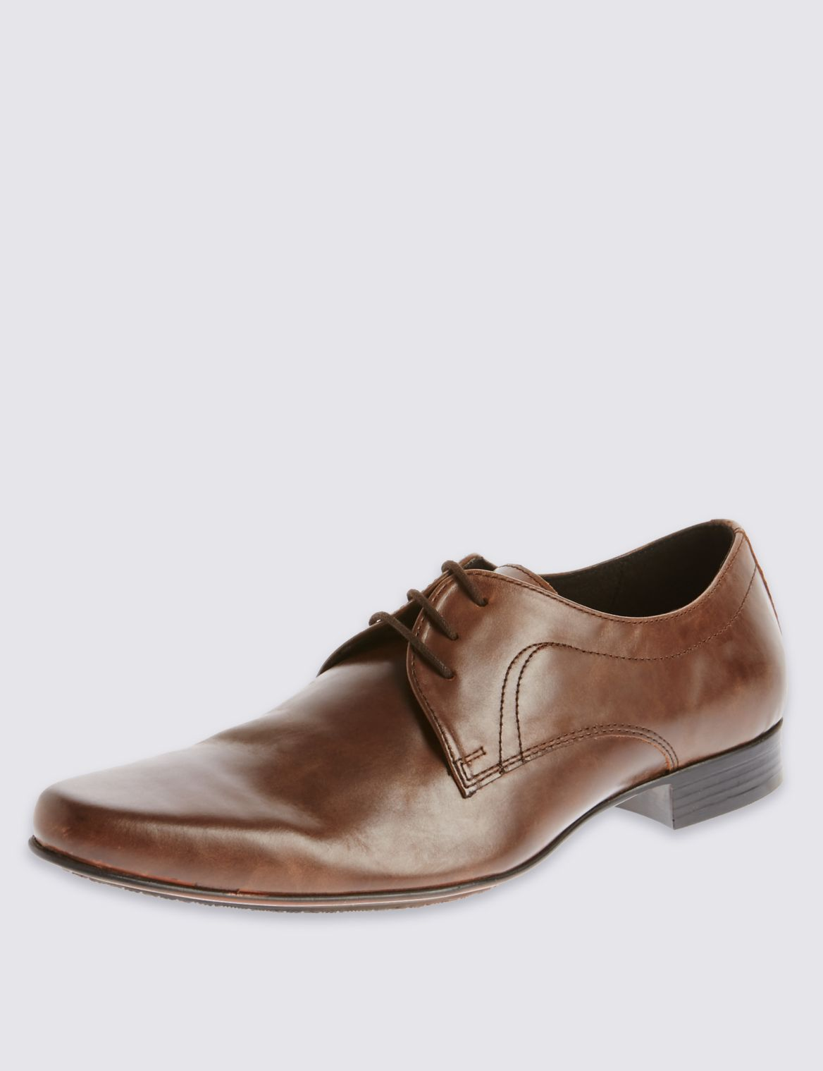 Leather Pointed Derby Lace-up Shoes brown