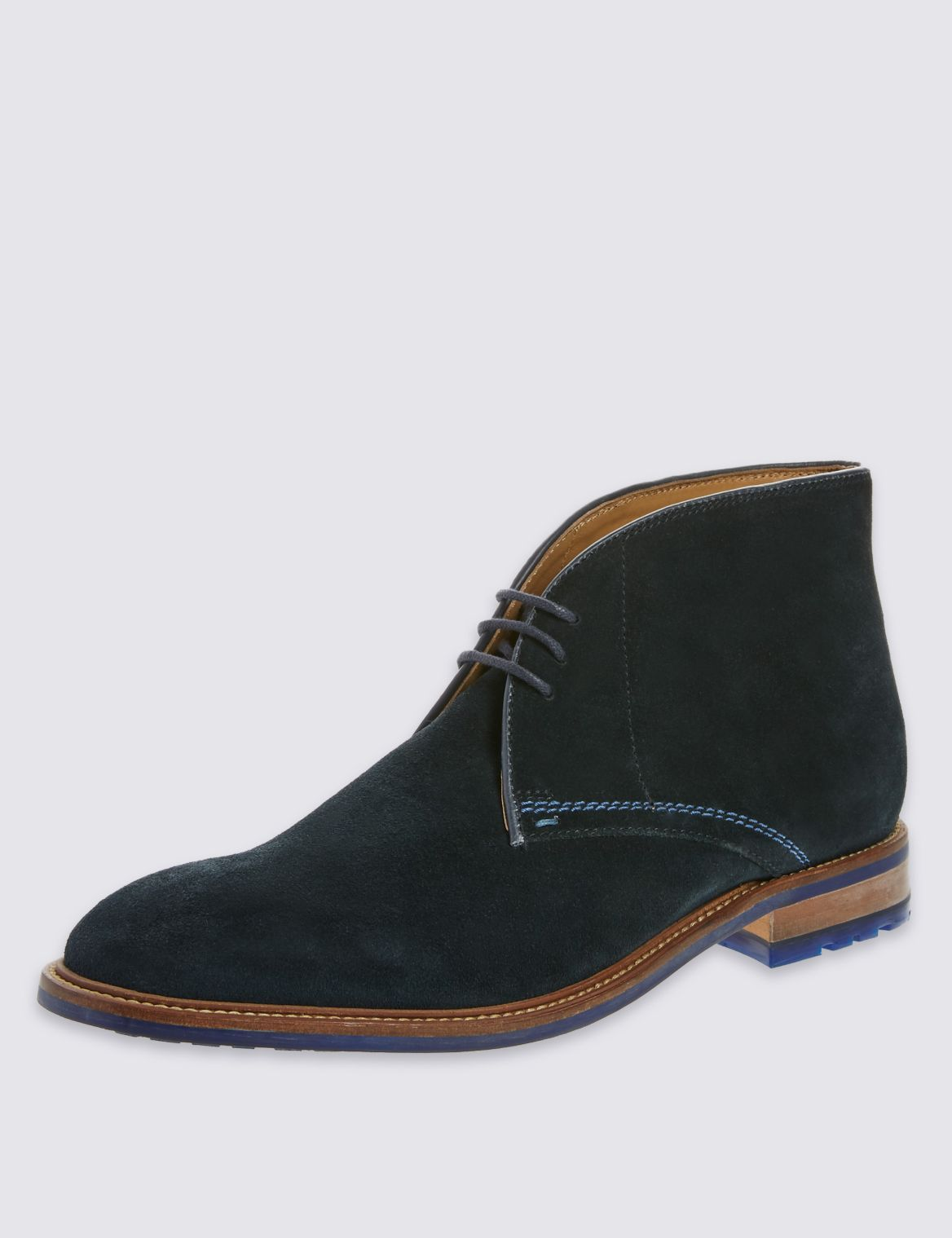 Leather Lace-up 3 Eyelet Chukka Boots navy