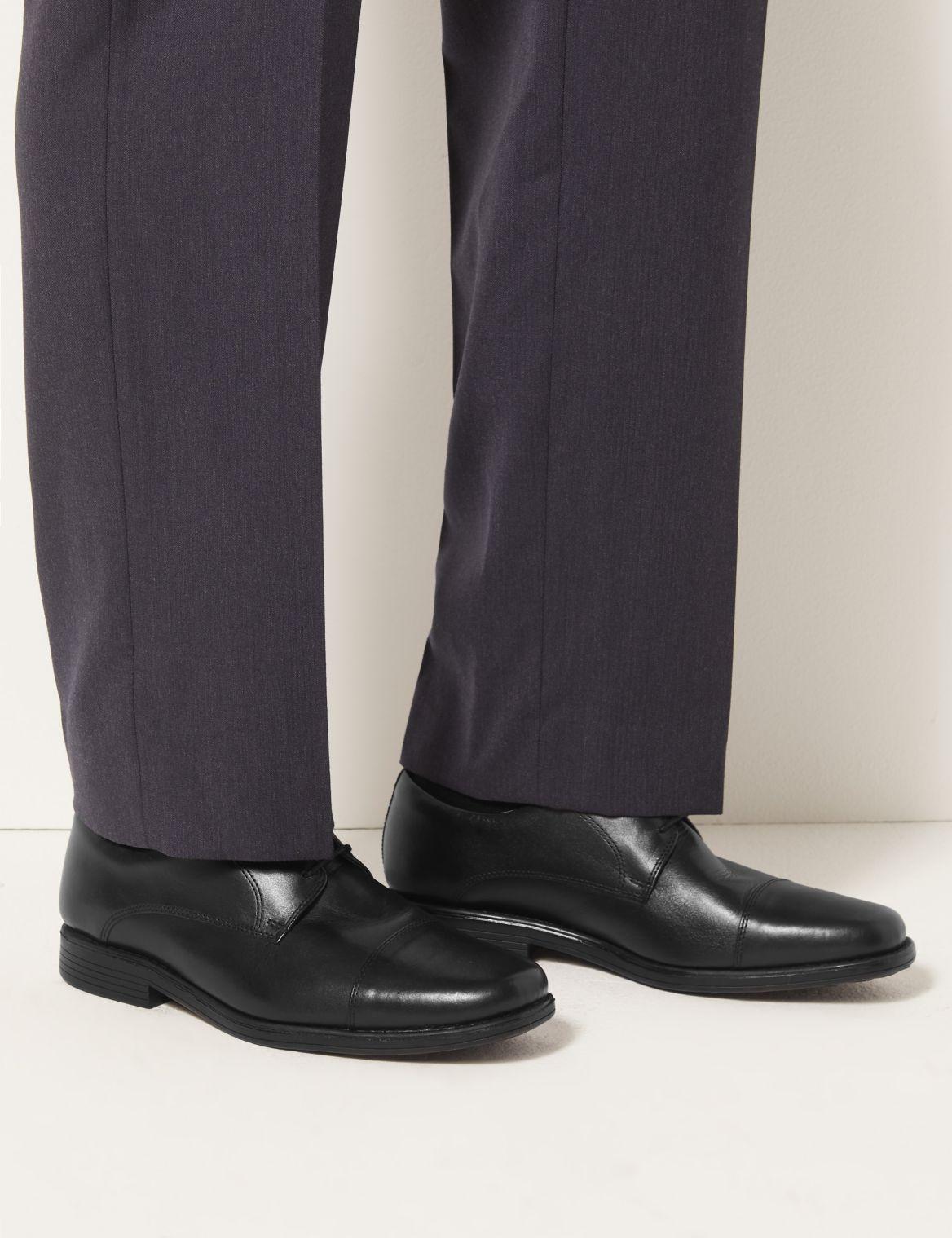 Leather Toe Cap Derby Lace-up Shoes black