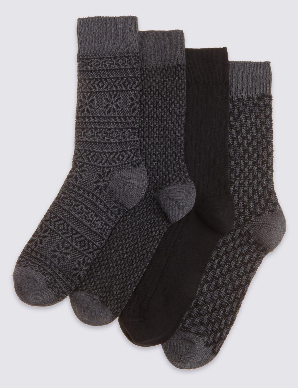 4 Pairs of Freshfeet™ Cotton Rich Socks grey mix