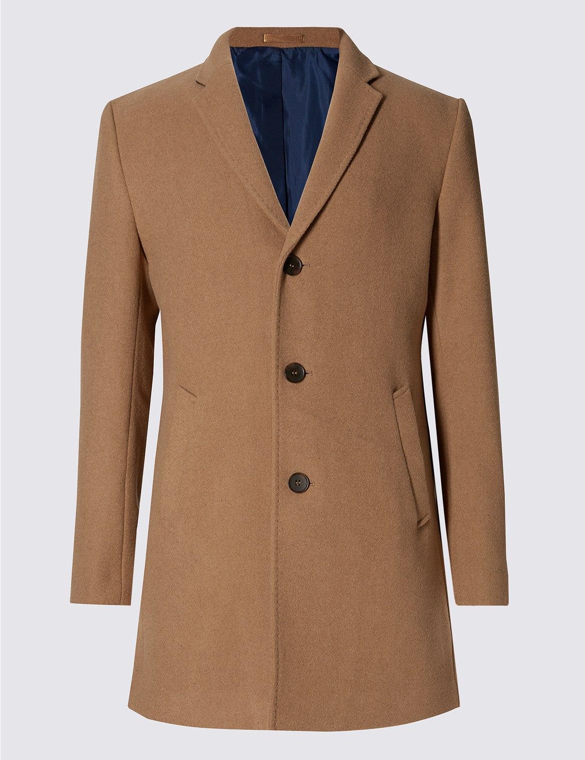 Manteau en laine mélangée avec col à revers -M&S