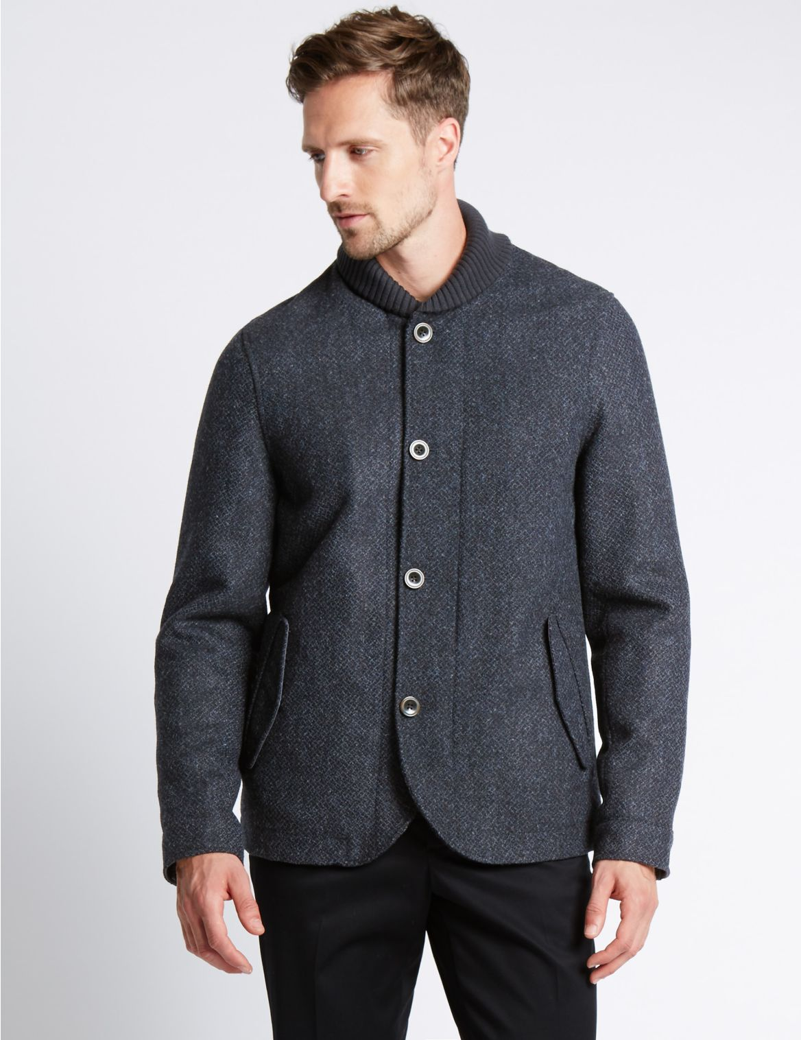 Wollen jas met platte kraag en