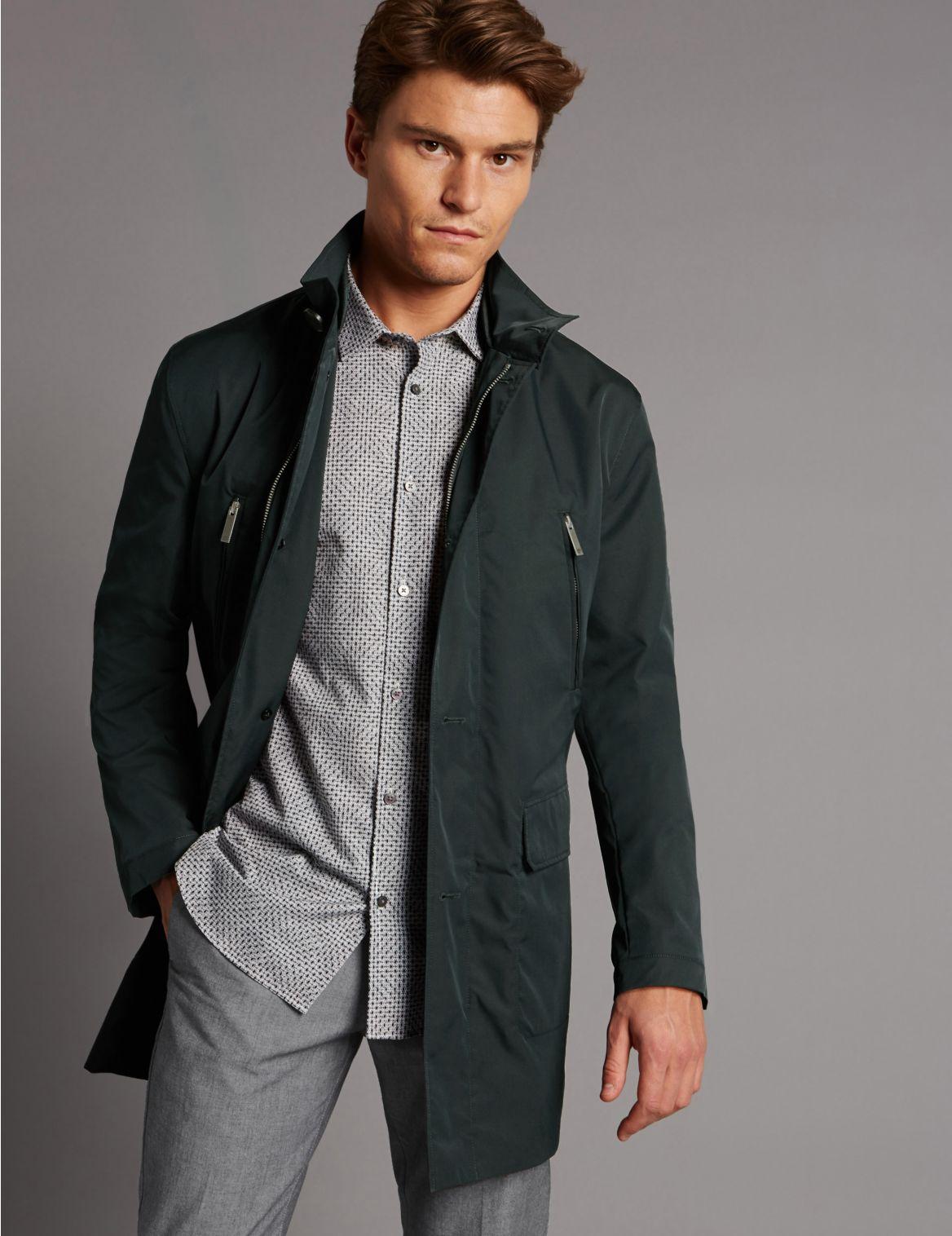 Regenjas met opstaande kraag met