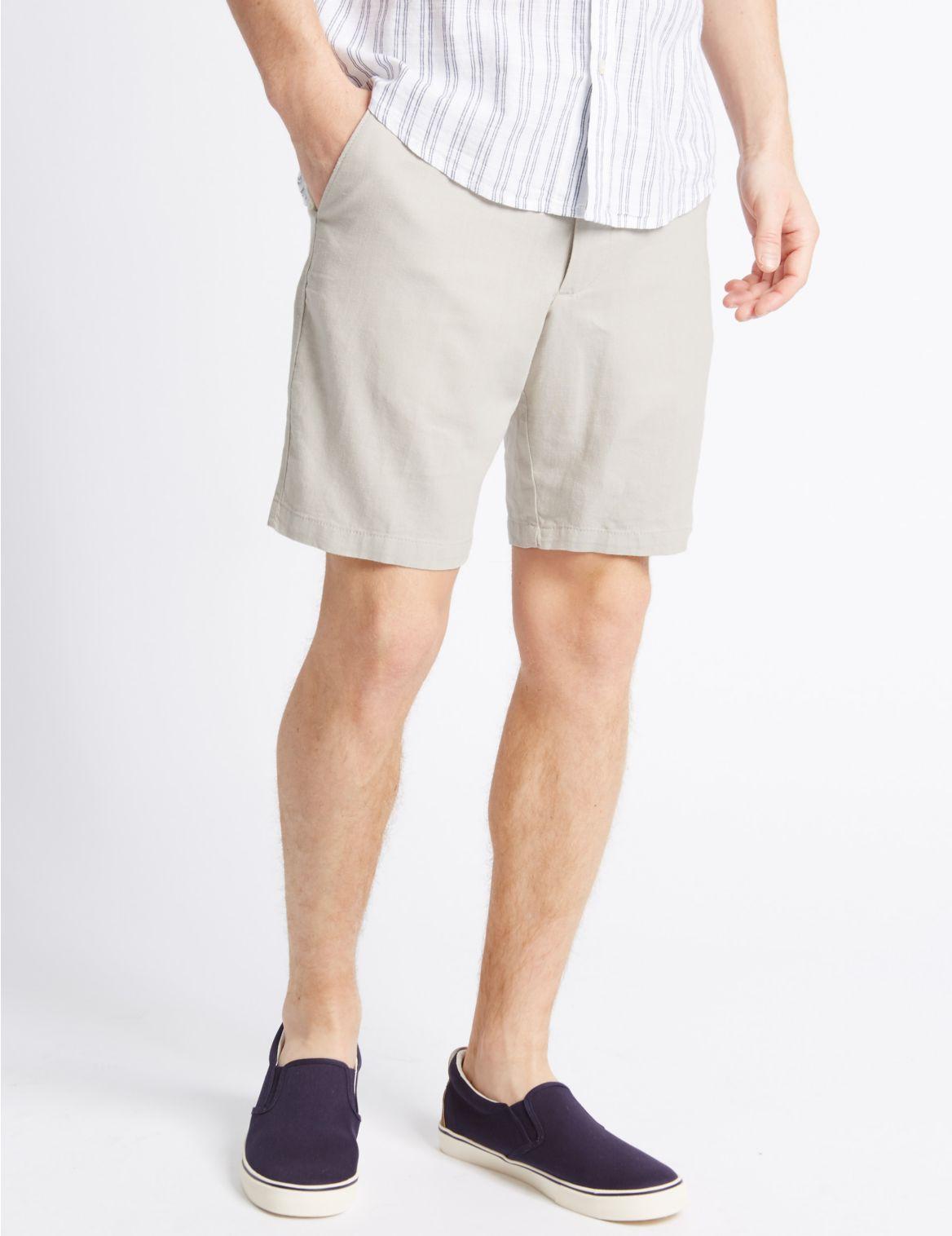 Linnenrijke korte broek met zak