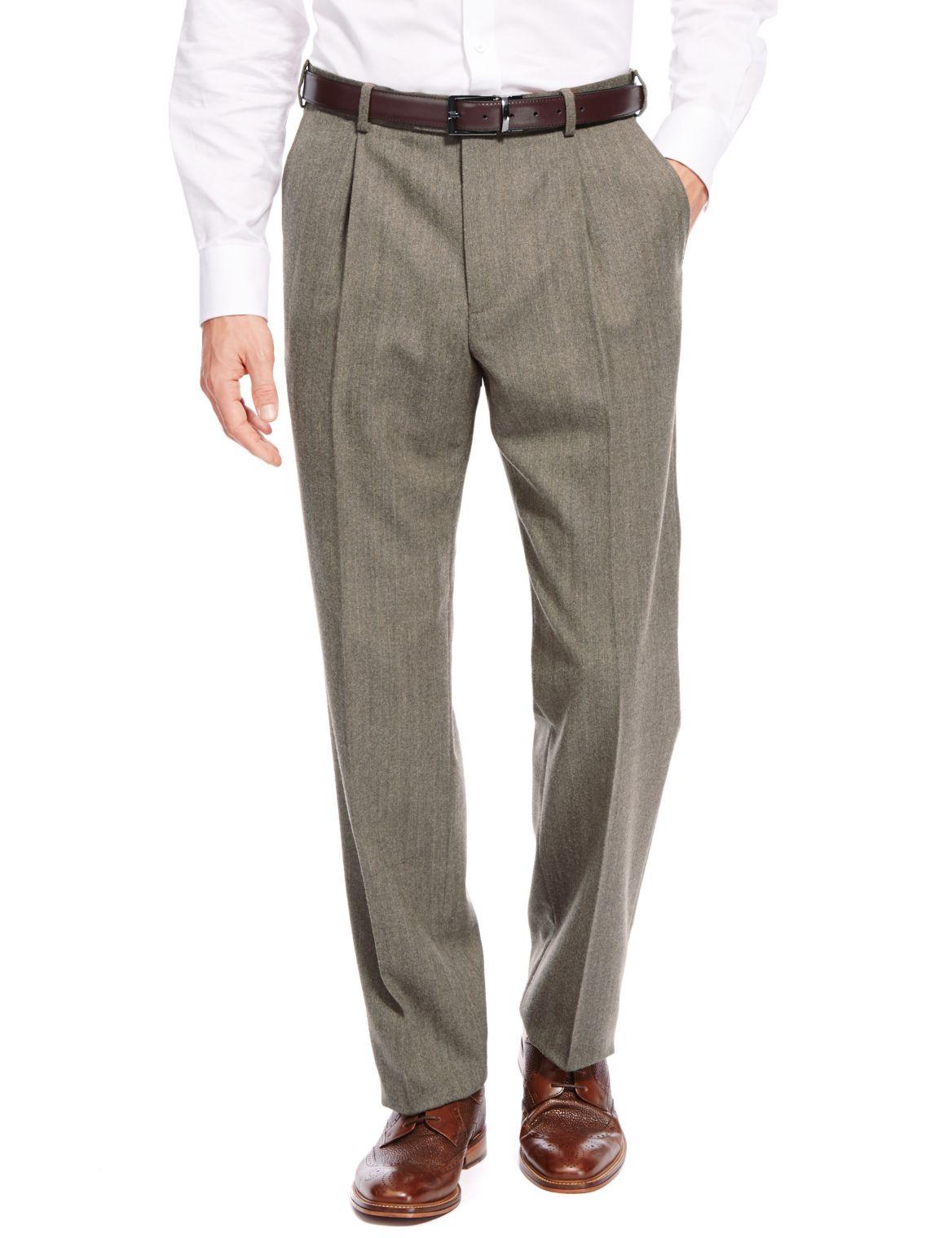 Wool Blend Herringbone Trousers neutral