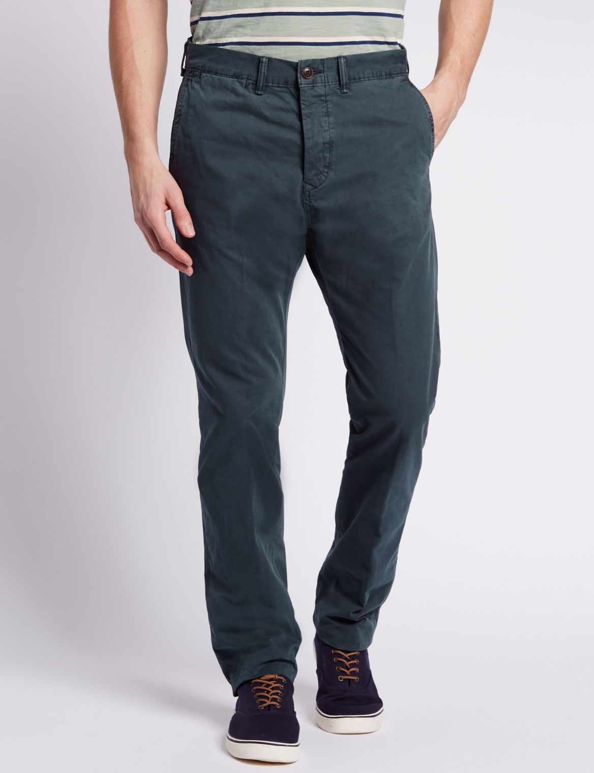 Pure Cotton Straight Fit Chinos grey
