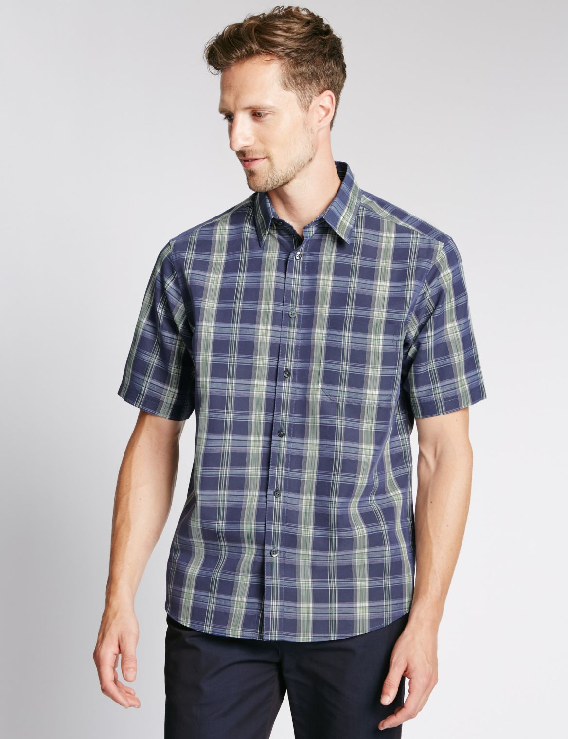 Ombre Checked Soft Touch Shirt with Modal navy
