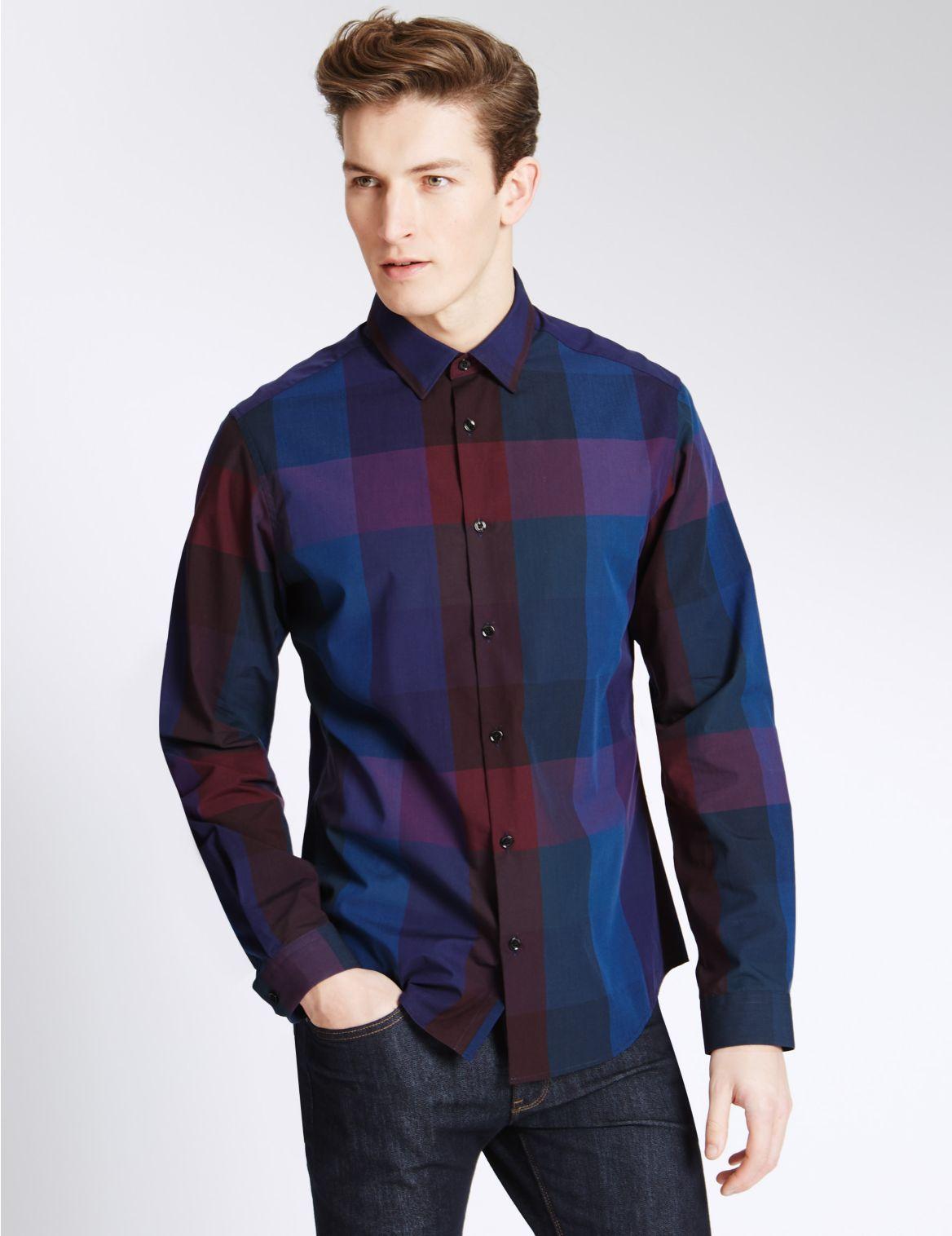 Marks And Spencer Geruit Overhemd Van Zuiver Katoen Met Slanke Pasvorm
