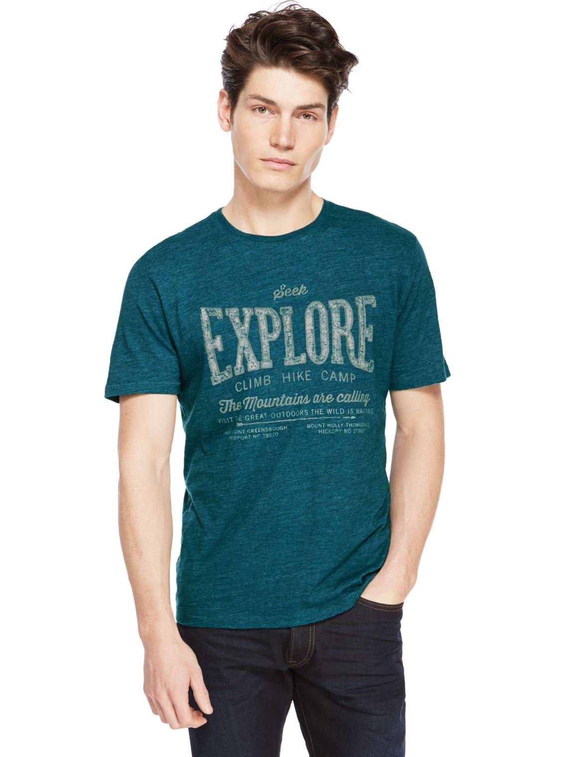 Slim Fit Assorted Print T-Shirt teal