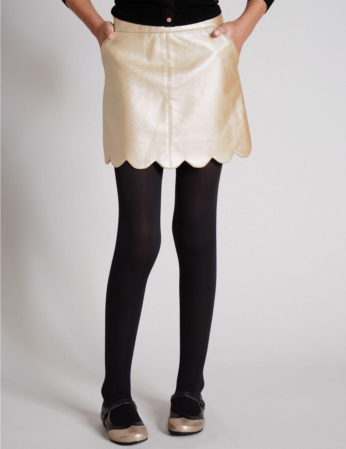 Faux Leather Metallic ALine Skirt
