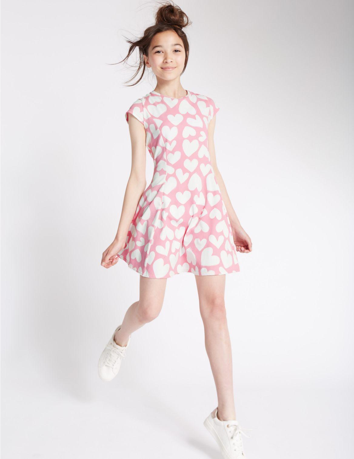Katoenrijke jurk met hartjesopdruk