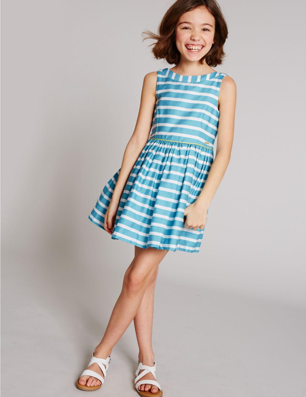 Puur katoenen gestreepte jurk (314