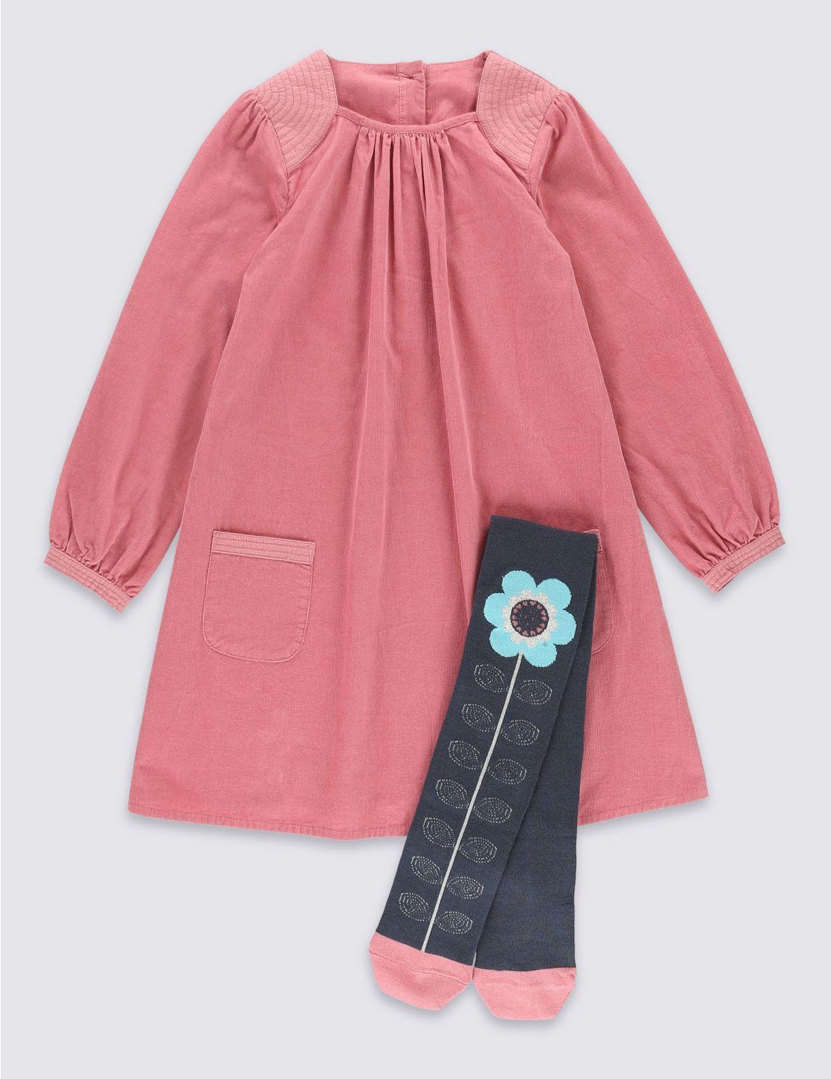 2delige corduroy jurk met maillot