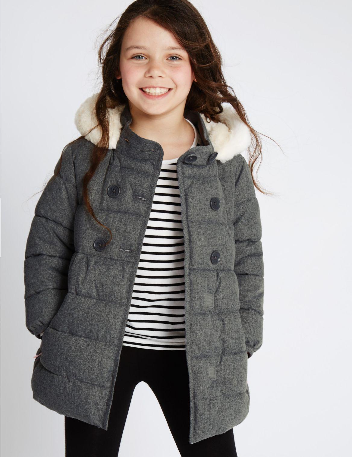 Gewatteerde jas met imitatiebont