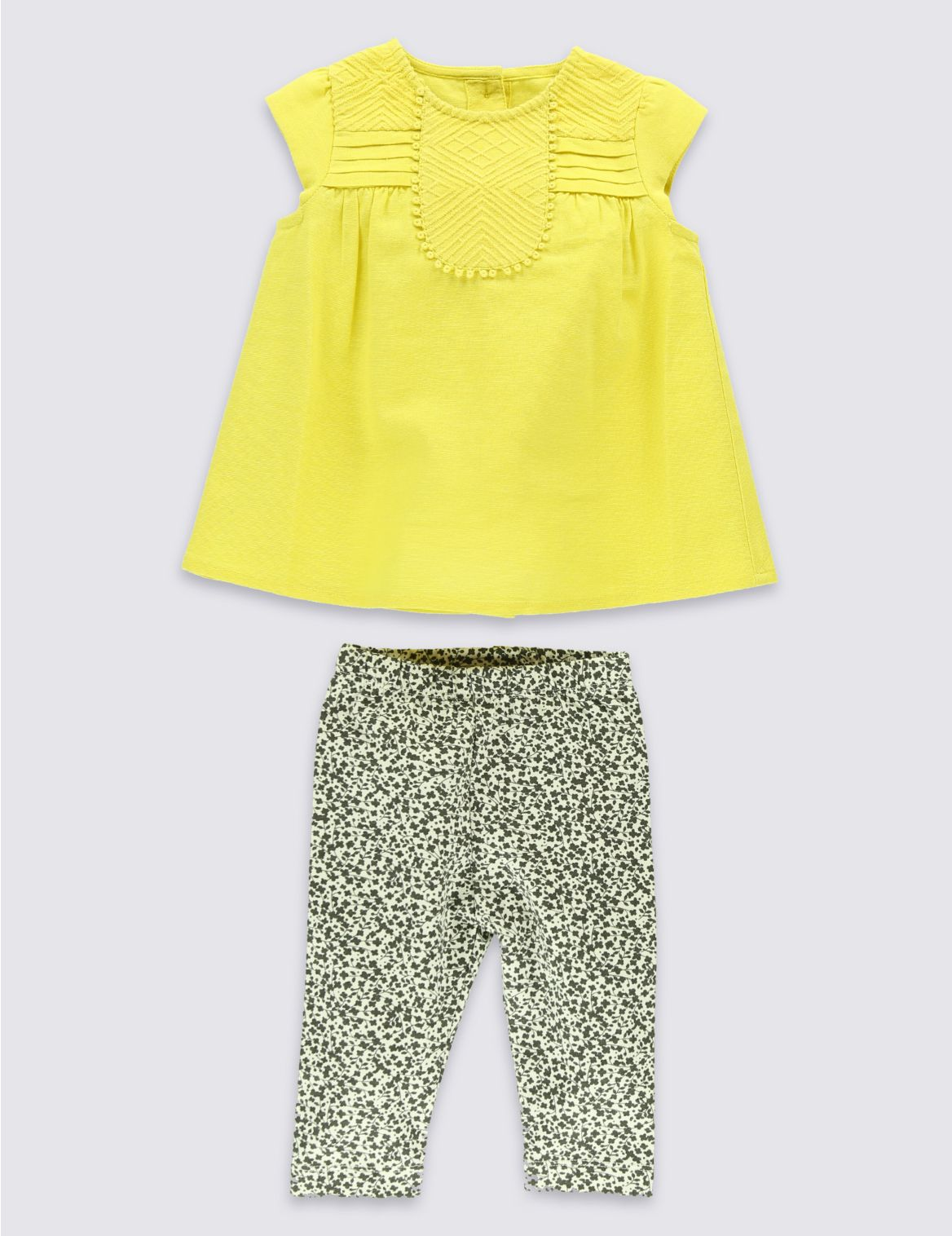 2-delige outfit van katoenrijke top en legging