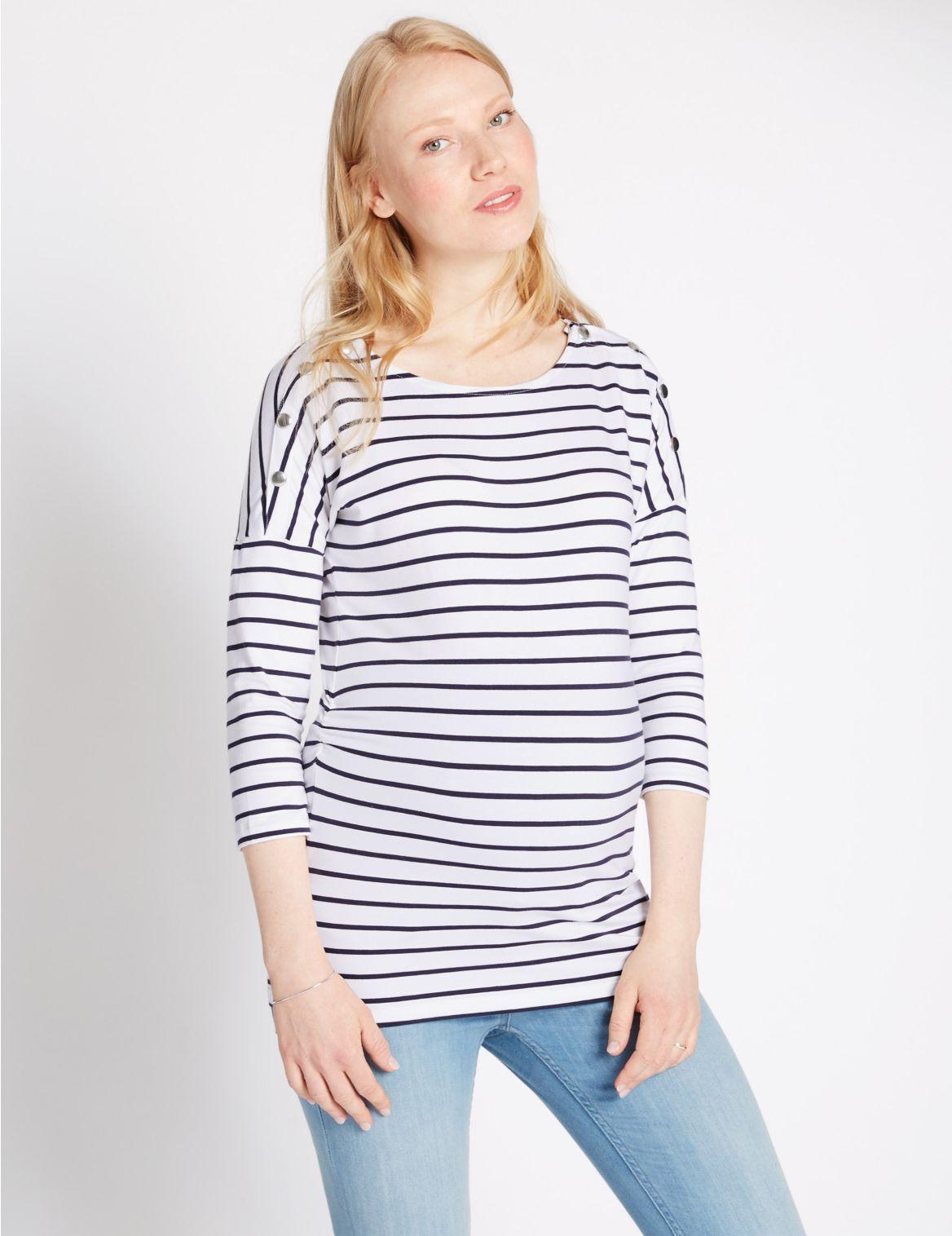 Zwangerschaps-T-shirt voor borstvoeding met modal met strepen