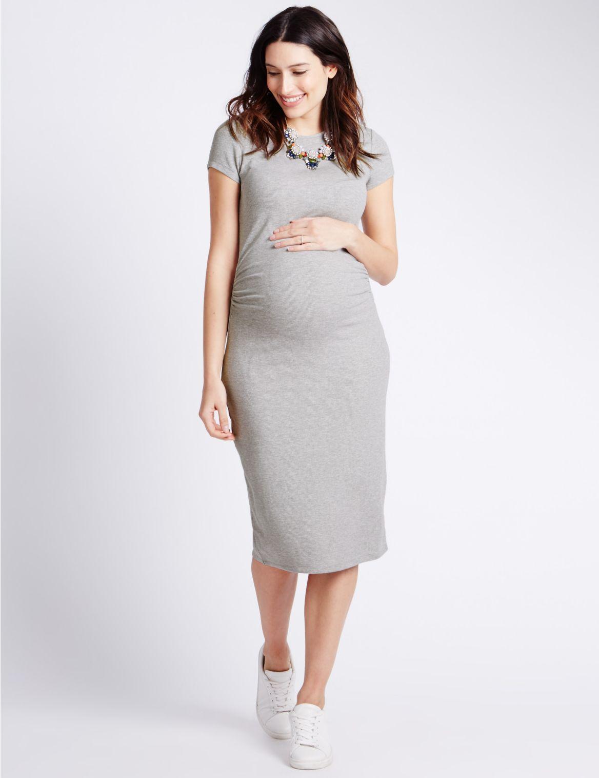 Geribbelde zwangerschapsjurk