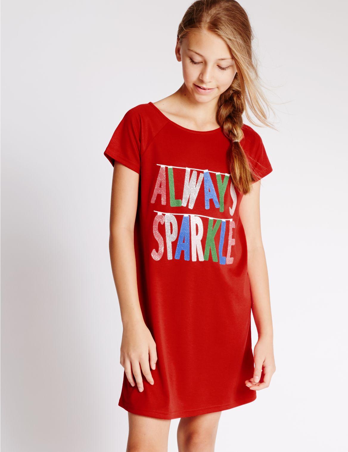 Nachthemd met korte mouwen en