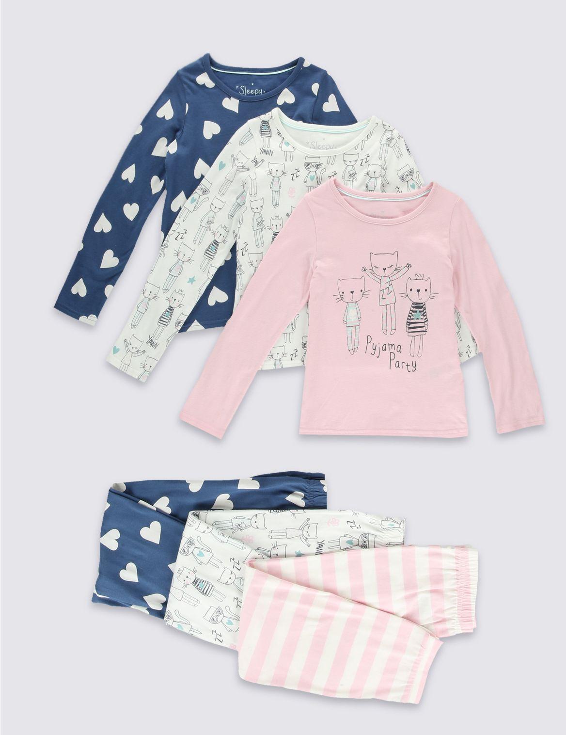 Set van 3 pyjama s van puur katoen