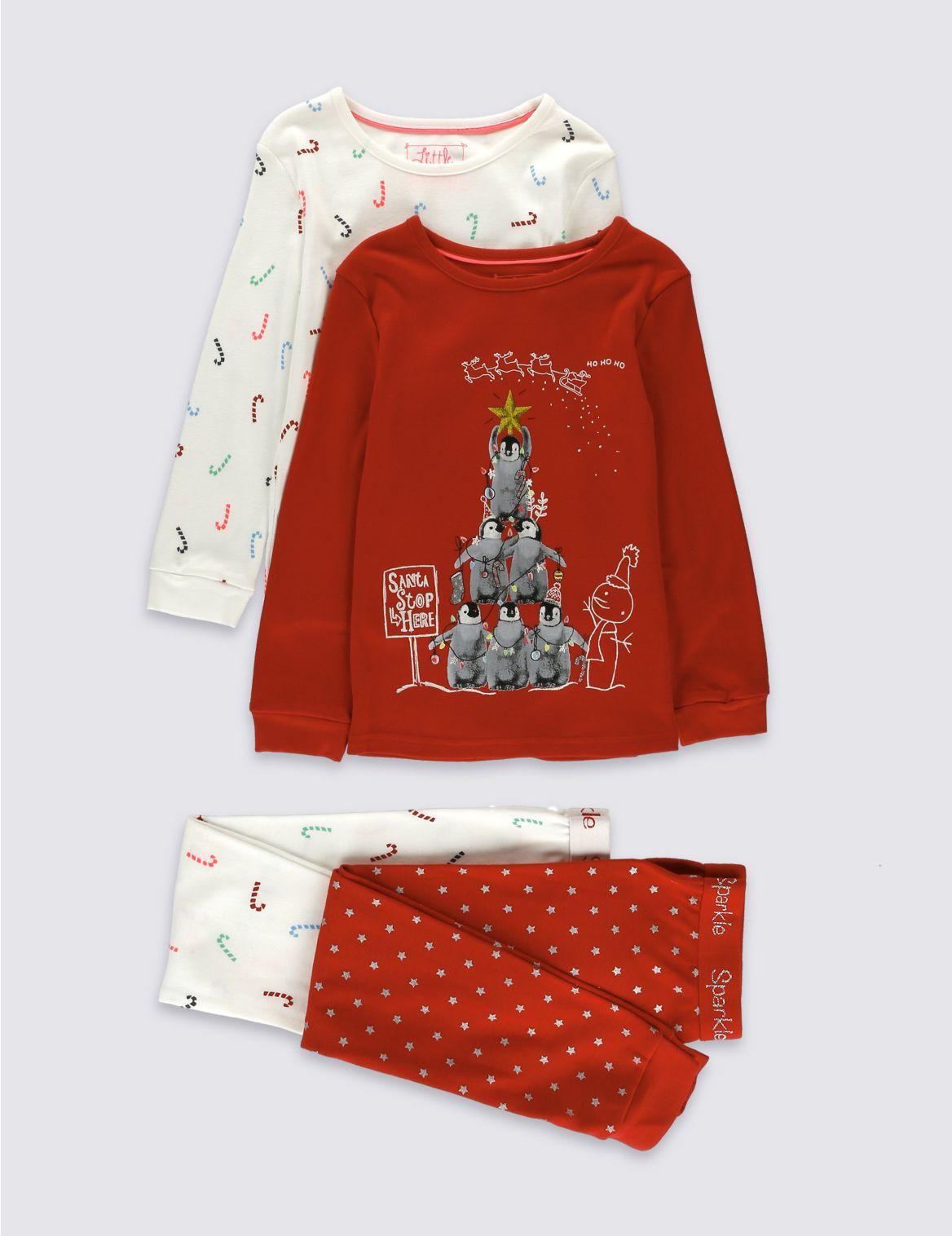 Set van 2 zuiver katoenen pyjama s