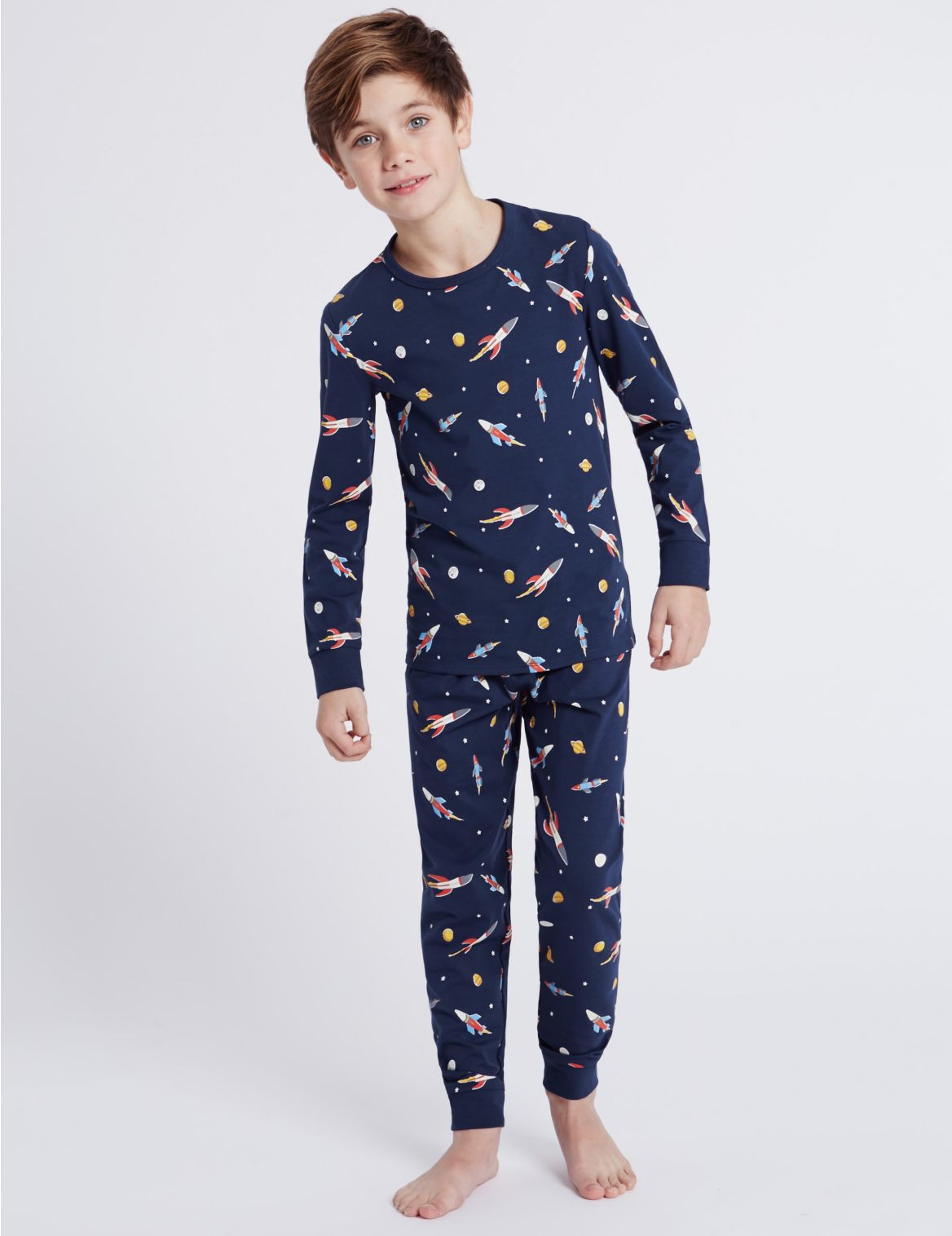Pyjama met allover raketprint (116