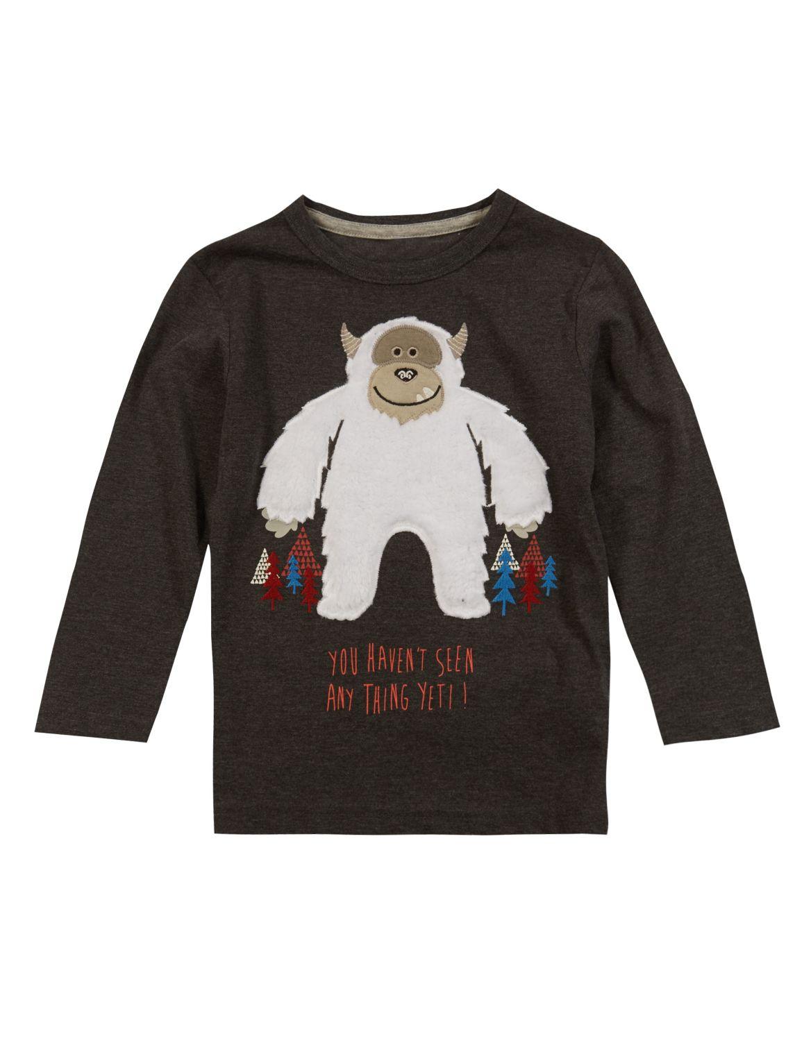 Marks And Spencer T-shirt Met Lange Mouwen En Yeti-opdruk (1-7 Jaar)