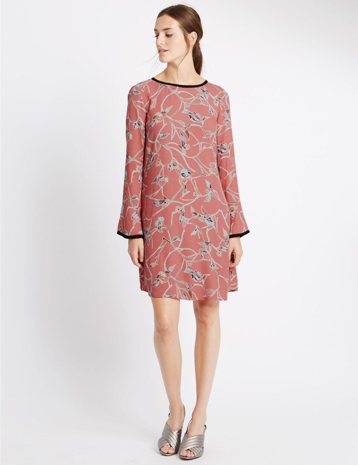 Kleurrijke rechte jurk met lange