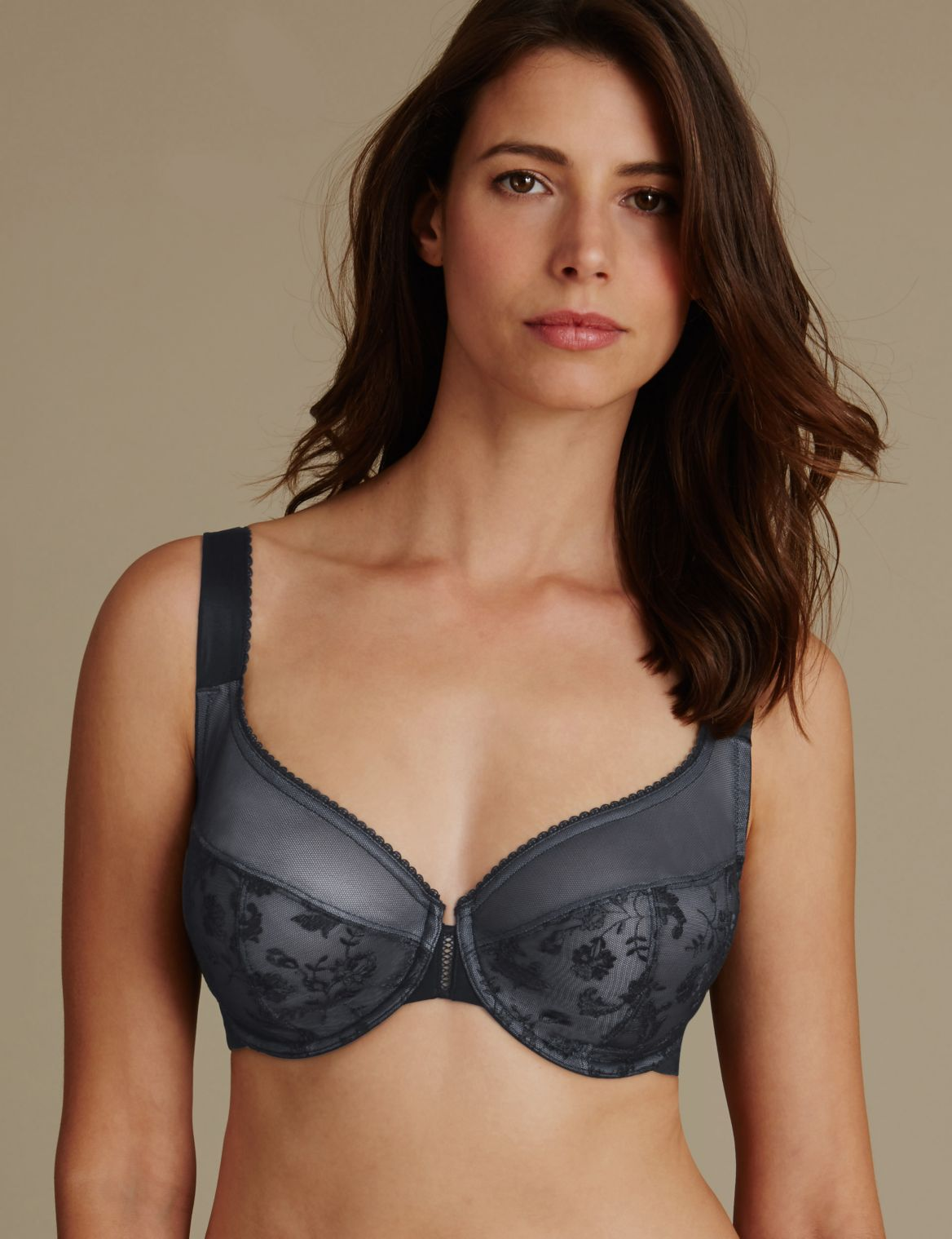 Renaissance Embroidered Non Padded Full Cup Bra DD-G black mix