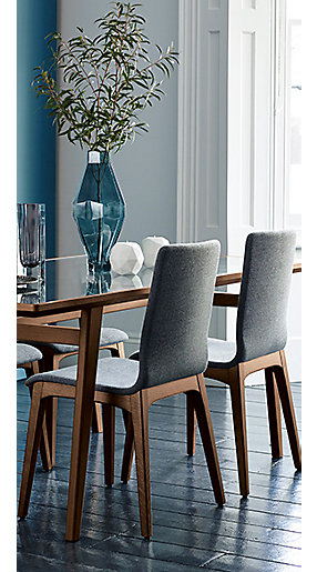 A dining table and chairs