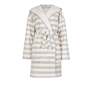 Double layered striped bonded dressing gown