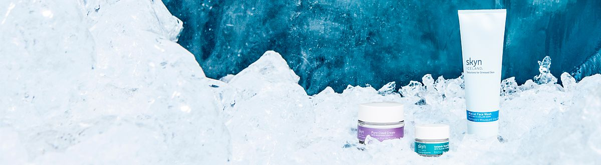 Image of Skyn Iceland skin care, pictured in a glacial landscape