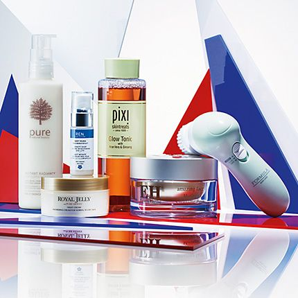 Group image of products from Ren, Pixi and Emma Hardie