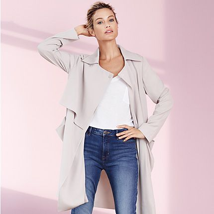 Jeans, top and jacket layering