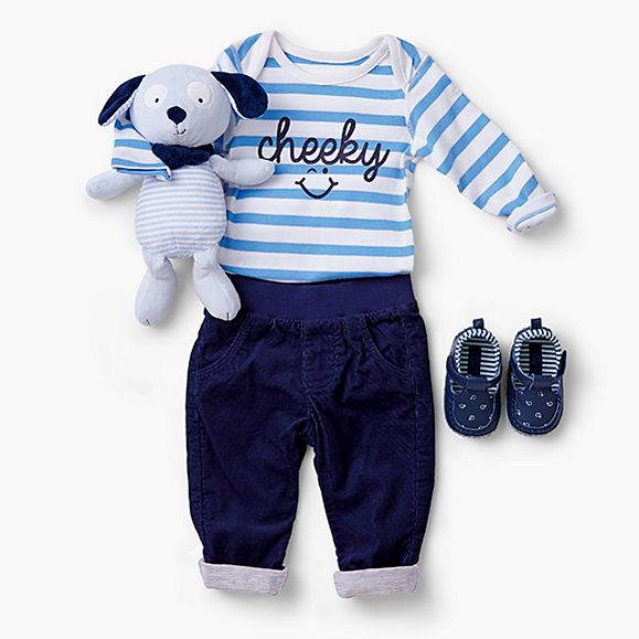 baby dog toy with baby boy outfit
