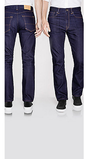 Men wearing regular fit jeans