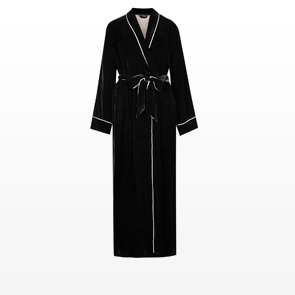 Velour dressing gown with silk