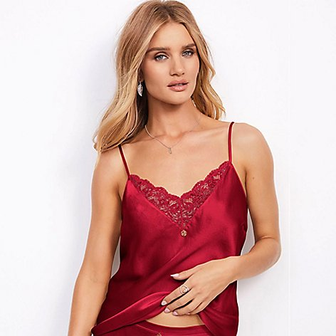 Rosie-Huntington Whiteley wearing lace-trimmed camisole top