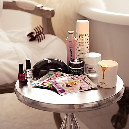 Dressing table with scented candle and cosmetics