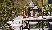 A garden table and garden chairs
