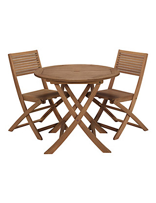 Nordina Round Dining Table & 2 Folding Chairs Furniture