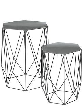 Wire Nest of Tables Grey, , catlanding